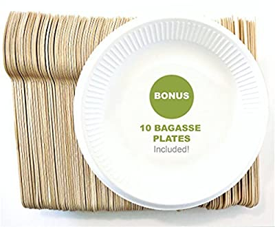 """Rustic 210 Pack Disposable Wooden Cutlery Set 6.5"""" with 10 Wheat Straw Plates 