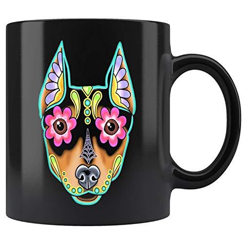 Min Pin - Day of the Dead Miniature Doberman Pinscher Mug Coffee Mug 11oz Gift Tea Cups 11oz
