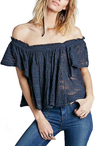 Free People Women's Thrills and Frills Sweater Navy Medium by Free People