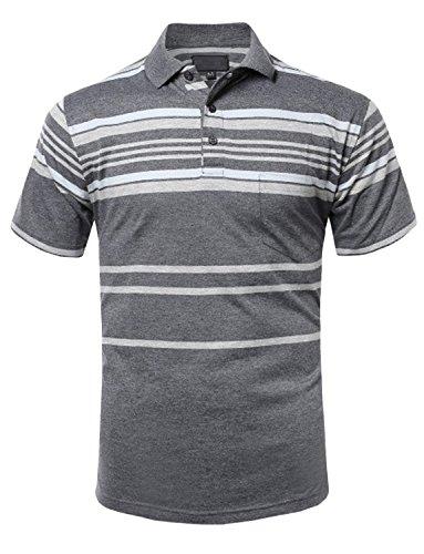 NE PEOPLE Men's Everyday Basic Stripe Polo -