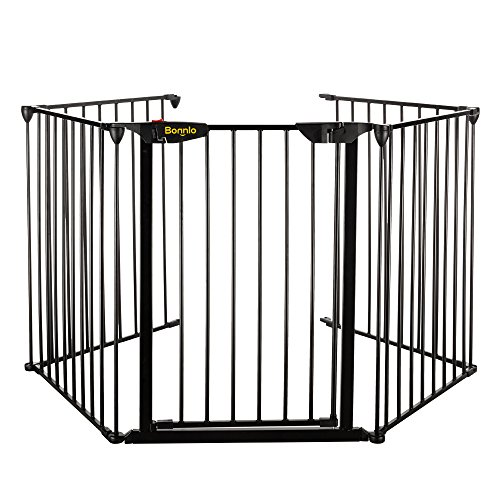 bonnlo 121 inch wide metal fireplace fence adjustable 5 panel baby safety gate play - Baby Gate For Christmas Tree
