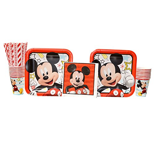 Mickey Mouse On The Go Birthday Party Supplies Pack for 16 Guests | Straws, 16 Dinner Plates, 16 Lunch Napkins, and 16 Cups | Celebrate Your Birthday With Mickey Mouse, Donald Duck, And Goofy!