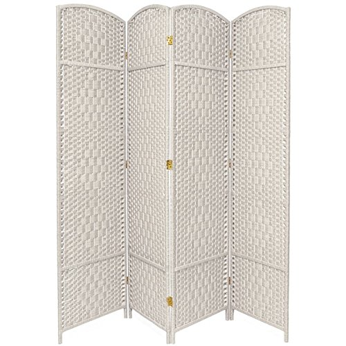 Oriental Furniture 7 ft. Tall Diamond Weave Room Divider - White - 4 Panels