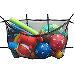 "MESH TITAN Pool Storage Bag - The Original Adjustable Hanging Pool Organizer (Black) - for Pool, Fence, Deck, Garage, Gym - 60"" Pouch for Floats, Sports Balls, Inflatable rafts, Toys, Yoga, and More"