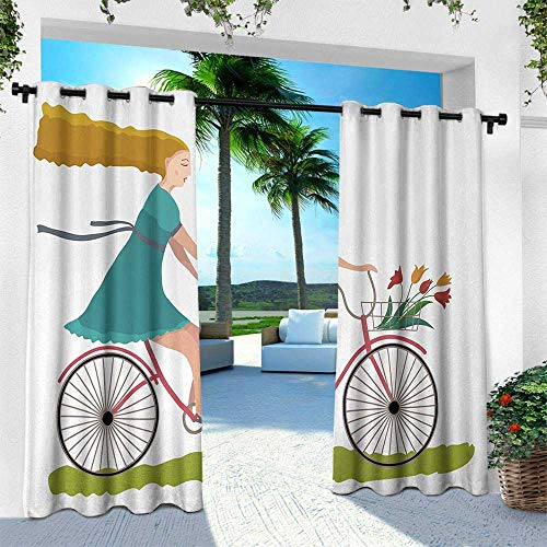 - Hengshu Bicycle, Outdoor Patio Curtains Waterproof with Grommets,Young Woman on Bike with Basket of Tulip Flowers Riding in The Spring Countryside, W96 x L84 Inch, Multicolor