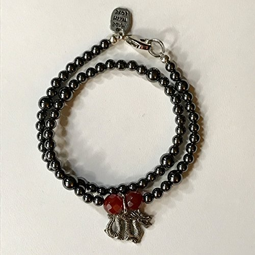 Hematite Dragon Double Wrap Bracelet