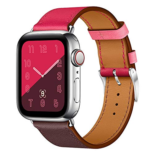 Marge Plus Compatible with Apple Watch Band 38mm 40mm/42mm 44mm, Genuine Leather Watch Strap Replacement Band Compatible with Apple Watch Series 4, 3, 2, 1, Sport Edition
