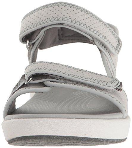 Clarks Frauen Brizo Sammie Sandal Light Grey Perforated Microfiber