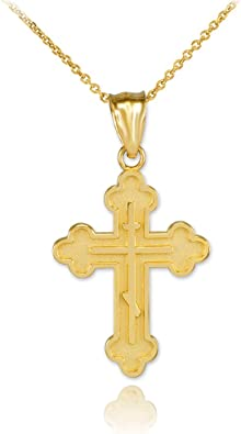 Religious Jewelry by FDJ Solid 10k White Gold Greek Cross Charm Pendant