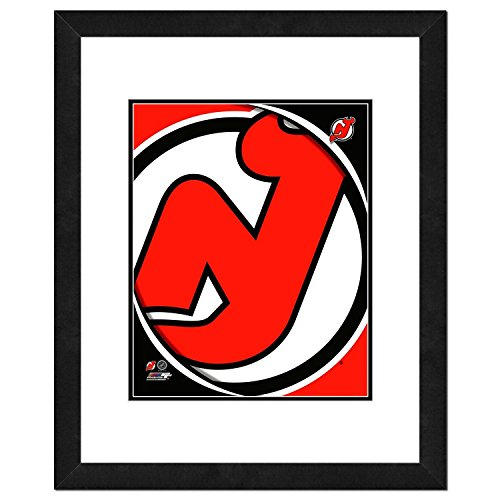 (NHL New Jersey Devils Team Logo Double Matted & Framed Photo, 18