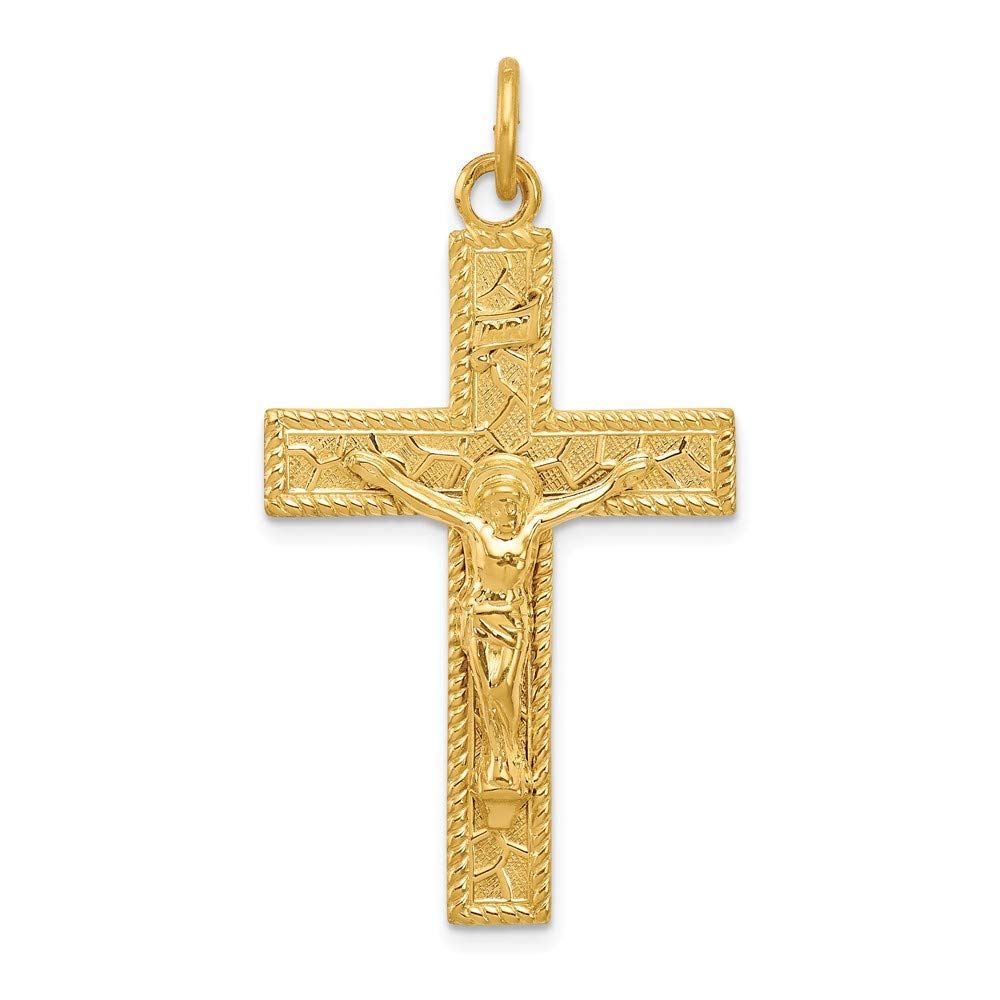 IceCarats 925 Sterling Silver 24k Gold Plated Inri Crucifix Necklace Pendant Charm