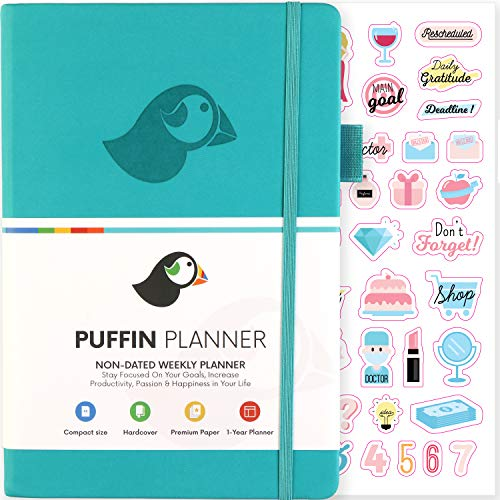 (Puffin Planner - Simple and Customizable Weekly Planner, Organizer and Gratitude Journal to Crush Your Goals in 2019 - Lasts 1 Year - Undated - Bonus Stickers and User Manual Included (Turquoise))