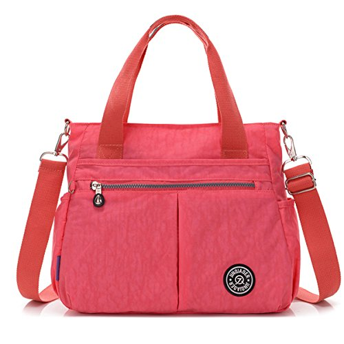 Handbag Shoulder Pink Tiny with Crossbody Detachable Resistant Water Messenger Tote Bag Strap Nylon Chou xqrqXFPO