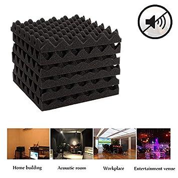 JUNGEN 6Pcs Esponja supresora de ruidos Absorbente acústico de espuma Esponja aislante de sonido corrugado Retardante de llama de alta densidad Negro ...