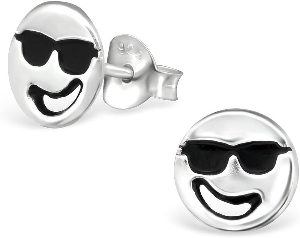 Laimons M/ädchen Kids Kinder-Ohrstecker Ohrringe Kinderschmuck Smiley Gesicht Cool fr/öhlich Sonnenbrille Platte Scheibe oxidiert glanz aus Sterling Silber 925