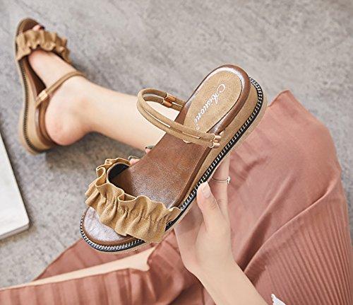 Colore Cachi cinturino 39 Sandali caviglia Nero dimensioni sandali Women Scarpe estivi alla Roman con con Gorgeous Flat casual ZJM Sandali ZqR4Hqf