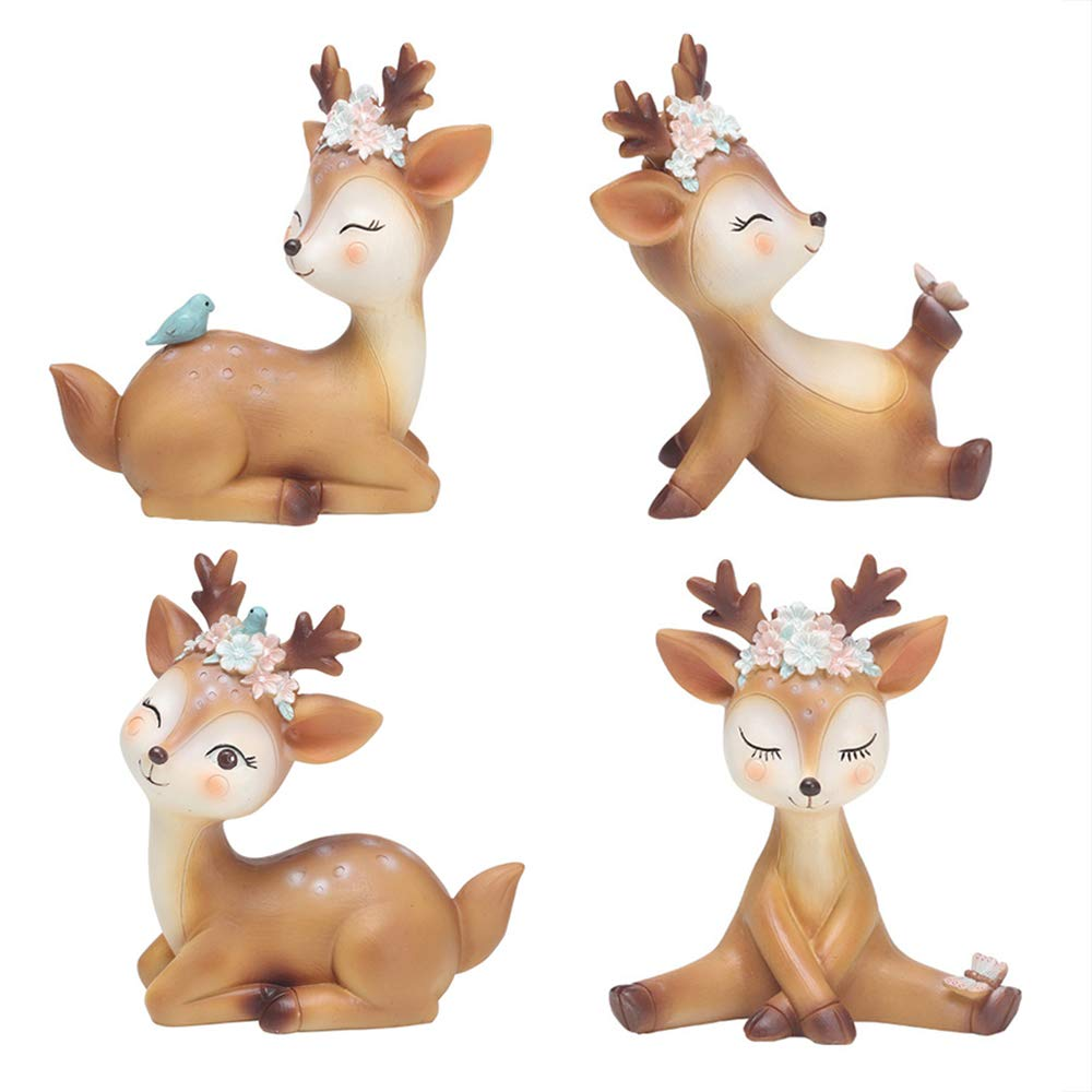 4 Pack Deer Figurines Cake Topper, Woodland Animal Doe Fawn Decor Party Favor Home Christmas Deer Toys Decoration for Baby Shower Birthday Wedding by L.DONG