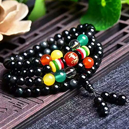 MGZDH Natural Rainbow Eye Obsidian 6-8mm Beads Bracelet with Five-Piece Spacer for Men and Women