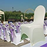 Fashine Spandex Polyester Chair Covers of 100 PCS SET Strecthy Chair Slipcover for Dinning Banquet, Party Wedding Decoration (White-2)