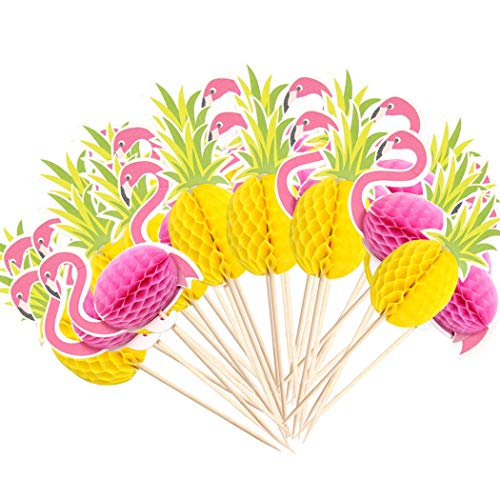 Faylapa 100 Pcs 3D Cake Toppers,DIY Birthday Cake Snack Cupcake Decorations,50 Pcs Flamingo + 50 Pcs Pineapple Topper Food Picks Wedding/Birthday Luau Hawaii Party Decoration