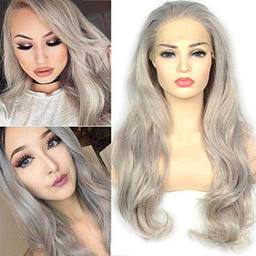 BLUPLE Platinum Gray Trendy Lace Front Wigs Natural Wavy Heat Resistant Synthetic Hair Half Hand Tied Wigs for Women Cosplay Daily Wear (22 inches, Natural Wave,Platinum Gray)