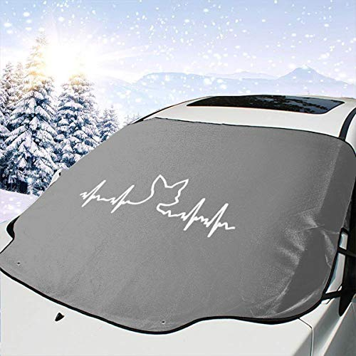 (Dog Heartbeat Chihuahua Insulated Car Front Windshield Cover 147 * 118cm Coated Waterproof Fabric with A 25 * 15cm Beaded Bag Easy Installation No Installation Tools are Required. )
