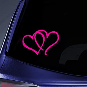 "Bargain Max Decals - Hearts Sticker Decal Notebook Car Laptop 3"" (Raspberry)"