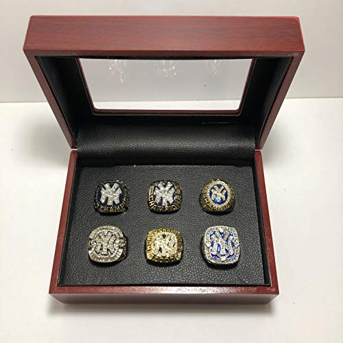 2009 World Series Ring - Set of 6 New York Yankees World Series Championship Replica Ring W/Box-Various Sizes Silver & Gold Color Collectible 1977, 1996, 1998, 1999, 2000, 2009