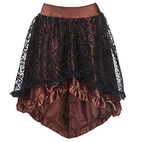 MILIMIEYIK Vintage Dress Steampunk Retro Victorian Punk Cincher Lace up Long Ruffle Pencil ()