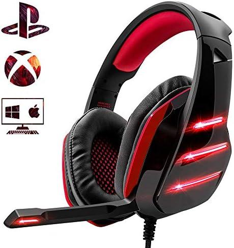 Xbox One Macラップトップおよびタブレット用のプロフェッショナルPS4サラウンドベースヘッドフォン(マイクとLEDライト付き)
