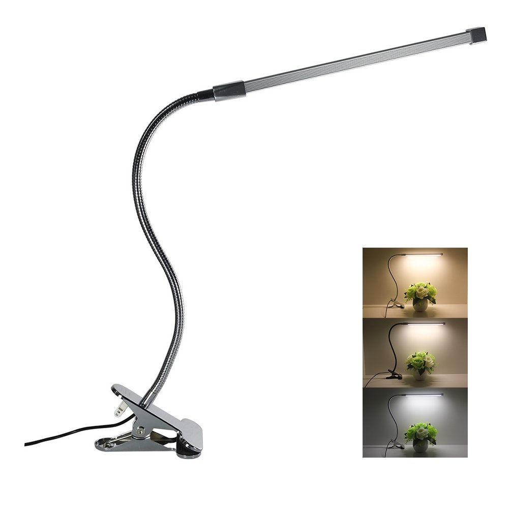 V Smart Life LED Desk Lamp Dimmable Eye Care Reading Light 3 Color Changing 10-Level Brightness Mental Flex Clamp Lamp Clip On Light LED Table Light (Black) DLDL8
