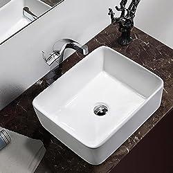 Comllen Above Counter White Porcelain Ceramic Bathroom Vessel Sink Art Basin
