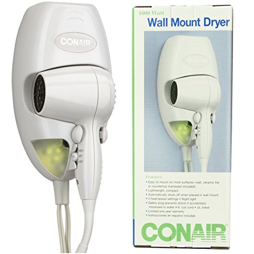 Extreme Popular Hair Dryer with LED Nightlight Bathroom Bright Salon Beauty Wall Mount Color White by GVGs Shop