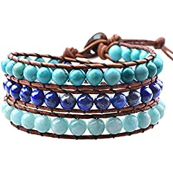 Mirilya Crystals and Healing Stones Bracelet Lapis-Lazuli Turquoise Amazonite for Anxiety Depression Stress