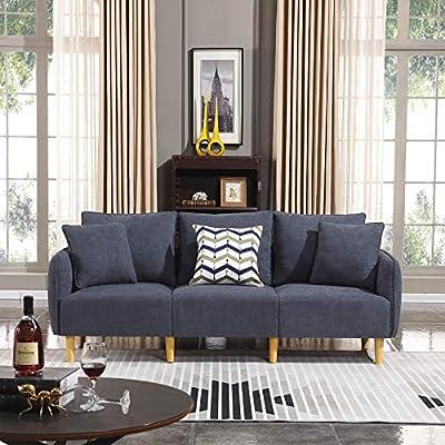 Astonishing Honbay Modern Convertible 3 Seat Sofa Chenille Fabric Small Sofa Couch For Small Apartment Settee Sofa Bluish Grey Machost Co Dining Chair Design Ideas Machostcouk