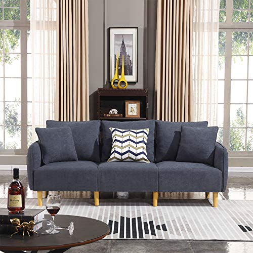 Honbay Modern Convertible 3 seat Sofa Chenille Fabric Small Sofa Couch for Small Apartment Settee Sofa Bluish Grey (Apartment Couches Size)