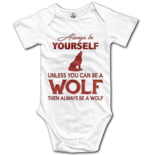 Baby Always Be A Wolf Unisex Toddler Bodysuit Summer Short Sleeves Romper Jumpsuits ()