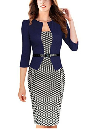 Viwenn Women Elegant Colorblock Long Sleeve V Neck Business Party Dress,Small,Small Houndstooth