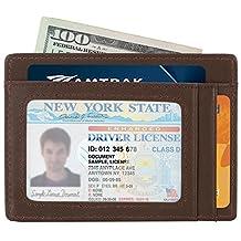 Slim Wallet RFID Front Pocket Wallet Minimalist Secure Thin Credit Card Holder (OneSize, Coffee)