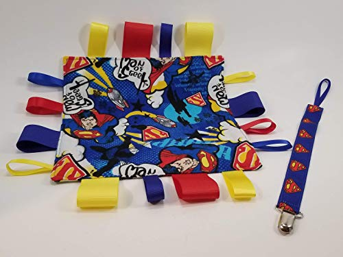 Superman Pacifier clip/teething toy clip AND Sensory Crinkle Ribbon Tag Square ()