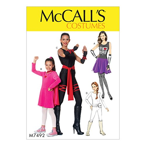 McCall's M7492 Women's Skeleton, Hero, Ninja, and Fighter Costume Sewing Pattern, Sizes S-XL ()