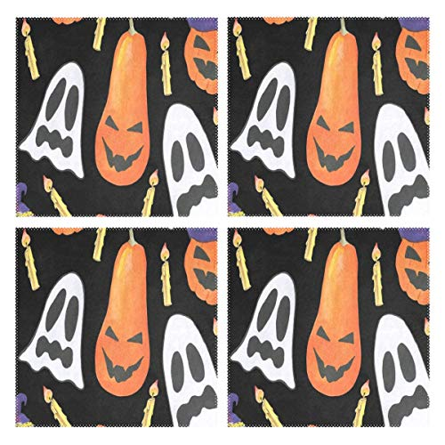 - GREEDCLOUD Heat Resistant Placemats for Kitchen Table Mats for Dinning Room,Painting Halloween Ghost Pumpkin Washable Insulation Non Slip Placemat 12x12 inch Set of 4