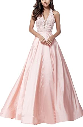 Sherri Hill V-Neck Halter Embroidery Prom Dress With Pockets Evening Party Gowns