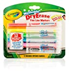 Crayola 98-5912 Washable Dry-Erase Fine Line Markers, 12 Classic Colors Non-Toxic Art Tools for Kids & Toddlers 3 & Up, Easy Clean Up, Won't Stain Hands or Clothes, Great for Classrooms