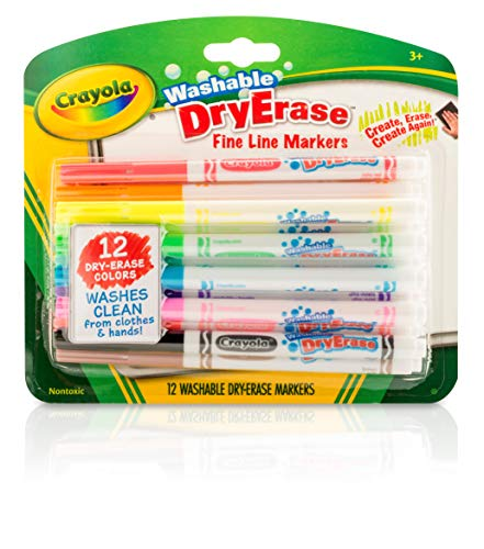 Crayola 98-5912 Washable Dry-Erase Fine Line Markers, 12 Classic Colors Non-Toxic Art Tools for Kids & Toddlers 3 & Up, Easy Clean Up, Wont Stain Hands or Clothes, Great for Classrooms