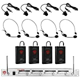 Nady U-41 Wireless UHF Headset + Lapel 4-Channel Microphone System - 4 Microphone Bundle (HM-3 + LM-14)