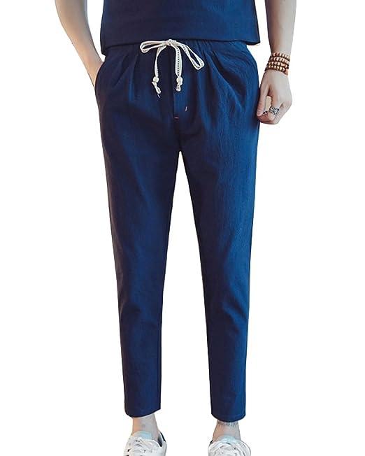 0d81818f7 Hombre Pantalones De Lino Cintura Elástica Vintage Pantalones Recortados Tallas  Grandes  Amazon.es  Ropa y accesorios
