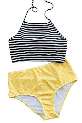 Beaux Dot (Joy&Bella Vintage Stripe Top Dot Printing High-Waisted Bottom Bikini Set Padded Bathing Suit Swimwear (S(US 4-6)))