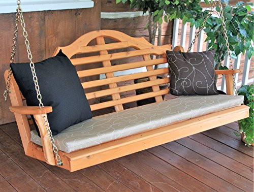 Aspen Tree Interiors Cedar Porch Swing, Amish Outdoor Hanging Porch Swings, Patio Wooden 2 Person Seat Swinging Bench, Weather Resistant Western Red Cedar Wood, 6 Styles (5ft, Lutyen Cedar Stain)