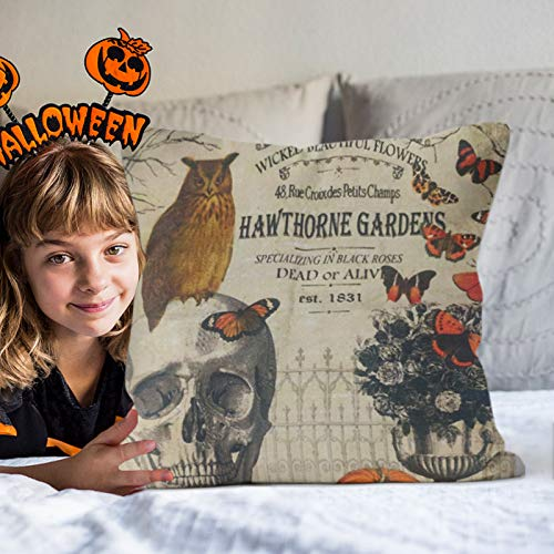 Motiloo 4 Pieces 18x18 Inch Pillow Covers Halloween Decoeative Pillow Covers Square Soft Cotton Linen, Home Decor Cushion Covers Crow Pumpkin Skull Owl Throw Pillowcases for Sofa Bed